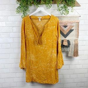 H&M Mustard Yellow Boho Bell Sleeve Dress SZ 6